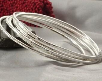 Hammered silver bangle, Stacking Bracelet, Silver Bracelet, Women Bangle, 6 Shiny Hammered Bracelet, 6 Shiny Bangle, Stacking Bangle