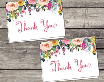 Floral Bridal Shower Folded Thank You Cards - 4x6 Thank You Cards - Favors - Watercolor Flower Thank You Cards -  Bridal-154