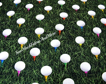 On The Green Golf Fabric~Tee Time~By the 1/2 yd~cotton~Kanvas Benartex~Golf Balls on tees~C5233~Sports