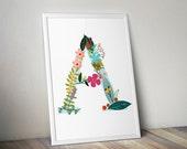 Flower letter print, Flor...