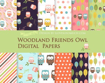 Owl / Baby Owl / Woodland Friends Owl Digital Paper Pack - Instant Download - DP075