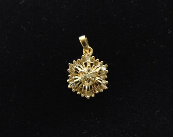 Womens Vintage Estate 10K Yellow Gold Pendant w/ Diamonds, 1.7g E2434