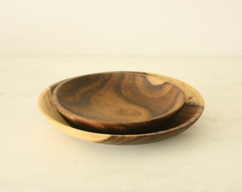 Pair of Vintage Wood Plates Dishes