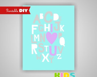 Nursery Art Print, Alphabet, 16X20 JPG file, Printable DIY  ( OTHER )