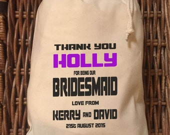 Personalised Bridesmaid Gift Bag - Various Sizes Available Holly Design