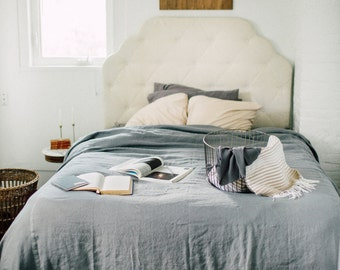 Delicious Linen Coverlet – Misty Morning Gray – Made to Order
