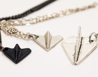 Paper Plane necklace pendant