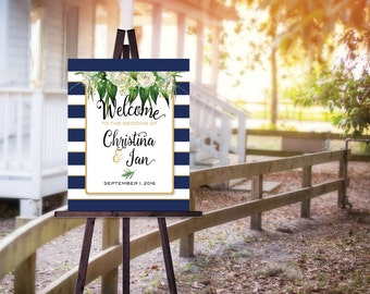 Wedding or Rehearsal Dinner Welcome Sign Poster | Navy and White Stripes | White Roses and Flowers | Personalized | DIY | DIGITAL PRINTABLE