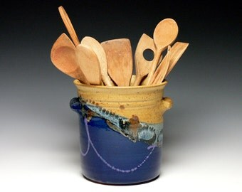 Stoneware Utensil Holder, Pottery Utensil Crock, Ceramic Kitchen Utensil Vase, Wine Chiller