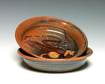 Set of 2 Pottery Pasta Bowls, Stoneware Salad Bowls, Hand Thrown Soup Bowls, Ceramic Bowls