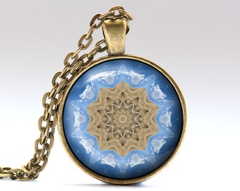 Mandala pendant Boho necklace Indie jewelry OWA409