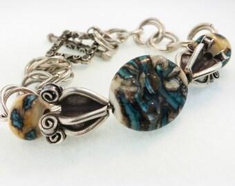 Turquoise Web Lampwork Bracelet OOAK SRA T25
