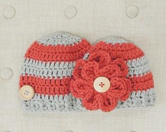 Crochet Flower Beanie, LuvBeanies, Hats for girls, Crochet hats for babies, Crochet hats for girls, Baby girl hats, Baby boy hat, Photo prop