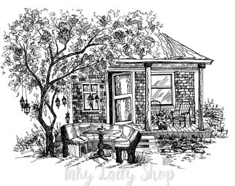 House drawing. Pen and ink house portrait. Digital house House in ink. Home in ink drawings. Architectural drawings. Ink drawings.