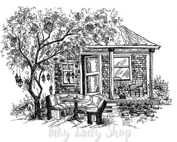 Ähnliche Artikel wie Haus Zeichnung Feder und Tinte Haus