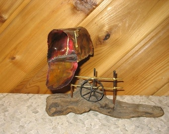 Metal Bronze Mailbox on Driftwood with Fence and Wheel - Handcrafted