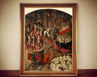 Hell print, Devil in Hell poster, demonic art, occult home decor, demonology, satanic art, Satan in Hell, sinners  #406