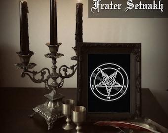 Satanic goat print, inverted pentagram art, Sigil of Baphomet altar poster, goat of Mendes illustration, occult, Satanic decor, Lucifer #5