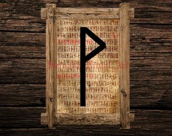 Wunjo print, rune illustration, Elder Futhark art, viking home decor, magical illustration, esoteric, magic, occult canvas poster #339.8