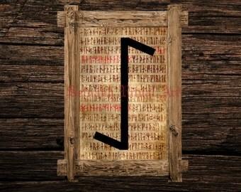 Eihwaz print, rune illustration, Elder Futhark art, viking home decor, magical illustration, esoteric, magic, occult canvas poster #339.13