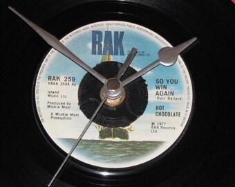 "Hot Chocolate so you win again  7"" vinyl record clock"