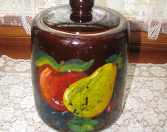 Cookie Jar With Apple, Pear Grapes and Cherries, Vintage