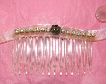 Art Deco Hair Comb Celluloid Lucite Rhinestone, Vintage