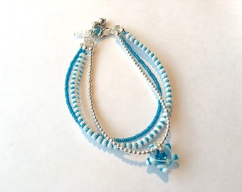 Starry Skies Blue And White 7 3/4 Inch Bracelet