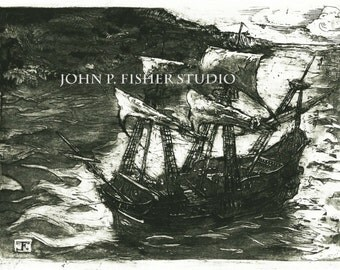 Etching of Pirate Ship