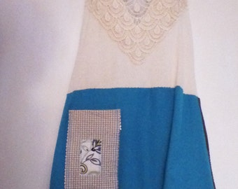 Blouse Size Large Beige Lace Blouse M/L Refashioned  By  Otto  Apex , North Carolina Lace Top Refashioned Clothes Blue Top