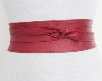 Red Metallic Leather Obi Belt | Leather tie belt | Real Leather Belt| Handmade Belt | Plus size belts| various sizes