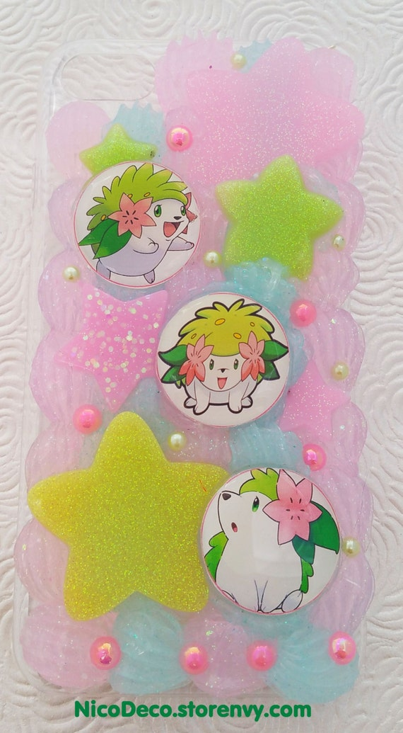 Shaymin Pokemon go iPhone 7 decoden case kawaii gamer girl pink and ...