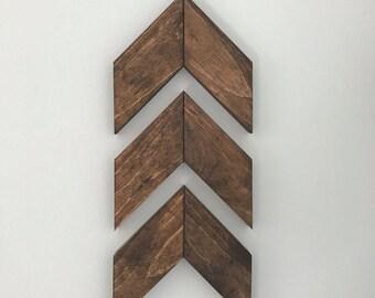 Set of 3: Medium Wood Arrow; Barnwood Sign; Wood Chevron; Rustic Wall Decor