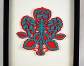"SALE Folk Art Flowers: Hand Cut Paper Cut Artwork, Red & Teal 14x11"" frame"
