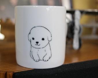 Hand painted animal mug  - Cute mug cup - dog mug cup - baby dog mug