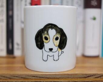 Hand painted animal mug cup - Cute mug cup - Beagle dog mug cup