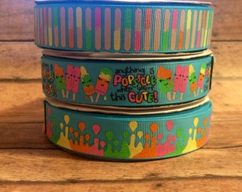 """7/8"""" USDR Anything is Popsicle when youre this cute grosgrain ribbon"""