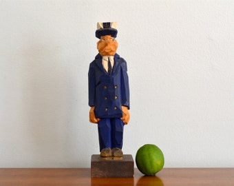 Vintage Wood Sailor Sea Captain Statue Figurine Hand Carved Nautical Beach House Decor