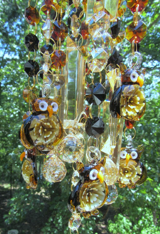 Crystal Owl Wind Chime Sun Catcher Garden D 233 Cor House