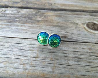 Green Mermaid Stud Earrings, Mermaid Earrings, Nautical, Studs Earrings, Gifts for Her, Stocking Stuffer