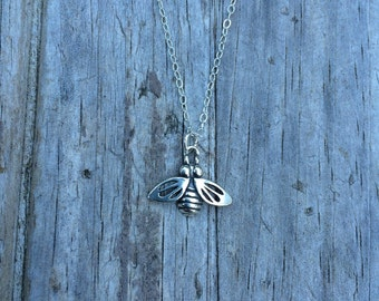 Delicate Sterling Silver Bee Necklace, Bee Necklace, Sterling Silver Necklace