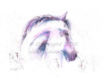 A4 White Horse  watercolour equine art print by nicola jane rowles  Horse ART PRINT