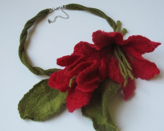 Red Felted Necklace. Red Flower, Felted  Jewelry