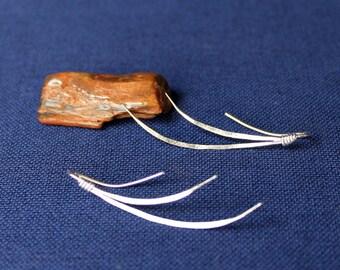 Sterling Silver Earrings, Curved Earrings, Wave Earrings, Sterling Hammered Earrings, Sterling Earrings, Silver Flow Earrings