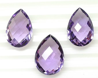 Natural Purple Amethyst Pear Briolette Checker Cut 29ct 100% Gemstone 13*18*8h