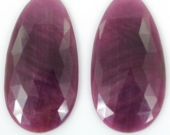 Sapphire Rose Cut Slice : 55.10cts 100% Natural Pink Sapphire Gemstone Oval Rose Cut Slice 37*19*4.5h Pair For Earring