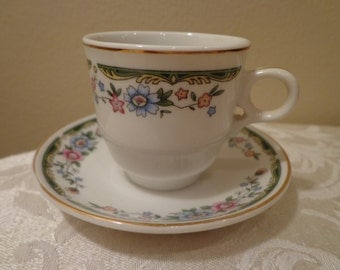 Fine China Chinese Demitasse Cup and Sauer, Gold Gilded Petite Floral Chinese Style Demitasse
