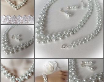 Pearl Bridal Necklace with Matching Bracelet & Earrings