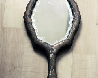 Florentine-style wooden table mirror with handle