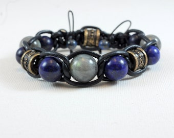 Bracelet leather labradorite and lapis lazuli top of range-creation for man